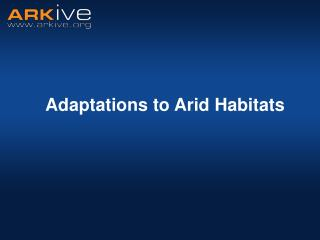 Adaptations to Arid Habitats