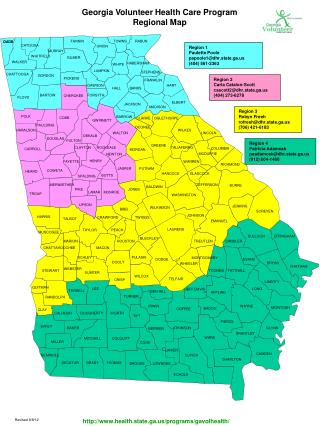 Georgia Volunteer Health Care Program Regional Map
