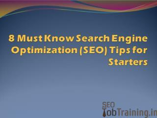 8 Must Know Search Engine Optimization (SEO) Tips for Starte