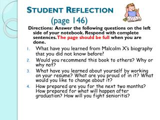 Student Reflection           (page  146)