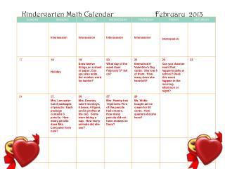 Kindergarten Math Calendar                      February  2013