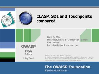 CLASP, SDL and Touchpoints compared