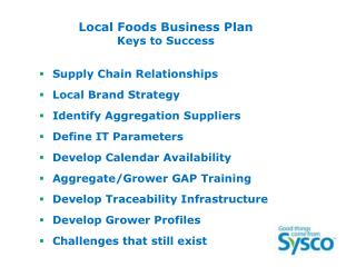 Local Foods Business Plan Keys to Success