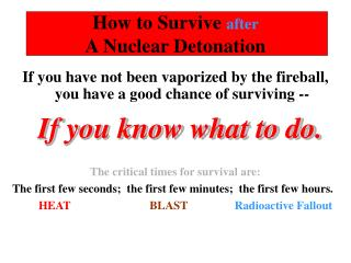 How to Survive  after  A Nuclear Detonation