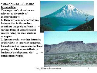 VOLCANIC STRUCTURES Introduction