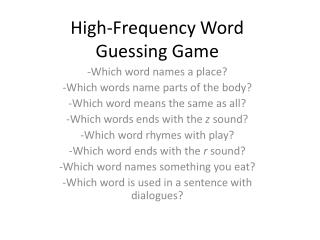 High-Frequency Word Guessing Game