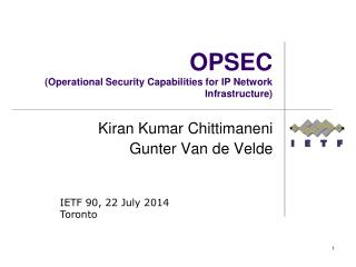 OPSEC ( Operational Security Capabilities for IP  Network Infrastructure )