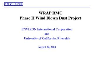 WRAP RMC  Phase II Wind Blown Dust Project