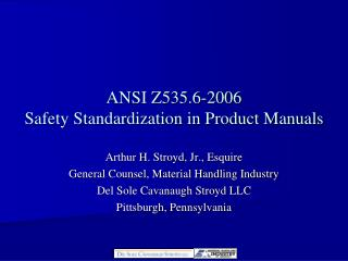 ANSI Z535.6-2006 Safety Standardization in Product Manuals