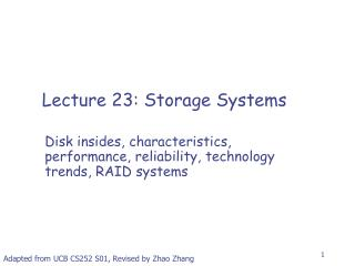 Lecture 23: Storage Systems