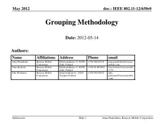 Grouping Methodology