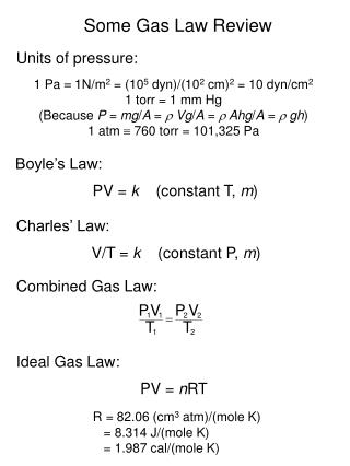 Some Gas Law Review