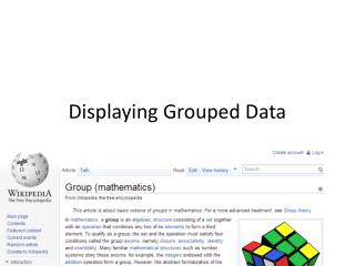 Displaying Grouped Data