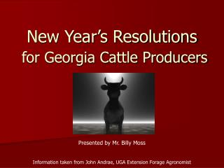 New Year's Resolutions for Georgia Cattle Producers