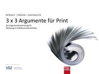 3 x 3 Argumente für  Print Die  Argumentesammlung  für  Werbung in Publikumszeitschriften