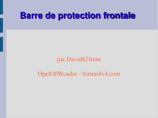 Barre de protection frontale