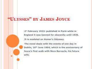 """"""" Ulysses """"  by  James Joyce"""