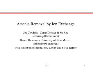 Arsenic Removal by Ion Exchange