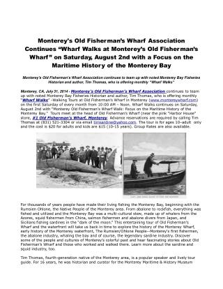 "Monterey's Old Fisherman's Wharf Association Continues ""Whar"