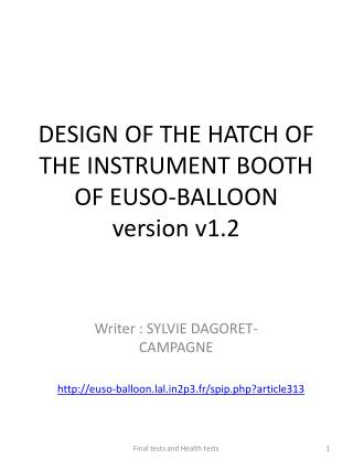 DESIGN OF THE HATCH OF THE INSTRUMENT BOOTH OF EUSO-BALLOON version v1.2