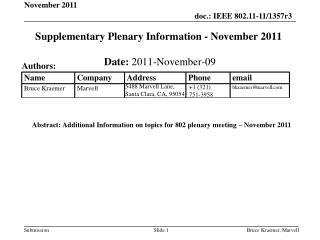 Supplementary Plenary Information - November 2011