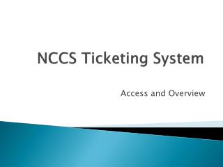 NCCS Ticketing System