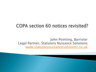 COPA section 60 notices revisited?