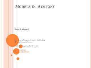 Models  in   Symfony