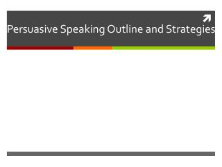 Persuasive Speaking Outline and Strategies