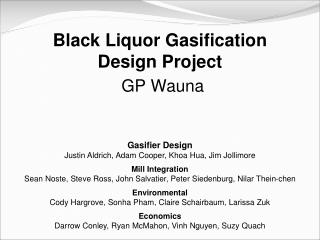 Black Liquor Gasification  Design Project  GP Wauna
