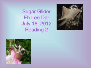 Sugar Glider Eh Lee Dar July 18, 2012 Reading 2