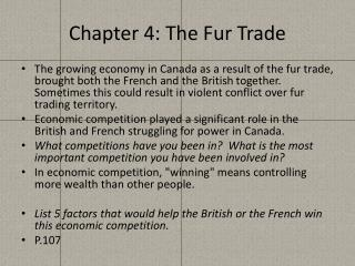 Chapter 4: The Fur Trade