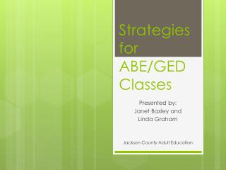 Strategies for ABE/GED Classes