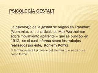 Psicolog�a  Gestalt