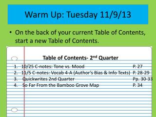 Warm Up: Tuesday 11/9/13
