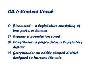 Ch. 6 Content  V ocab