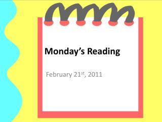 Monday's Reading