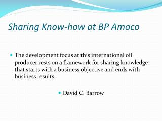 Sharing Know-how at BP Amoco