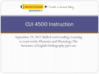 CUI 4500 Instruction