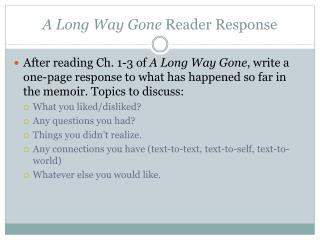 A Long Way Gone Reader Response