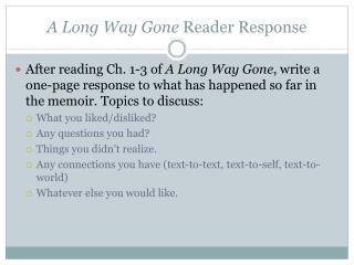 A Long Way Gone Reader Response