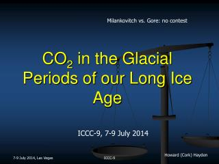 CO 2  in the Glacial Periods of our Long Ice Age