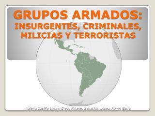 GRUPOS ARMADOS:  INSURGENTES, CRIMINALES, MILICIAS Y TERRORISTAS