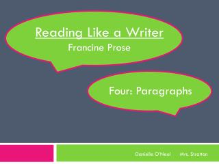 Reading Like a Writer Francine Prose