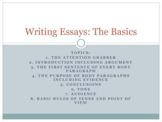 Writing Essays: The Basics