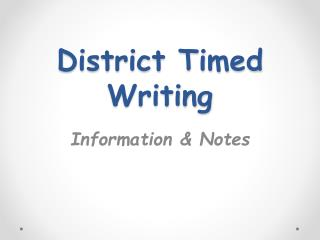 District Timed Writing