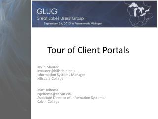 Tour of Client Portals