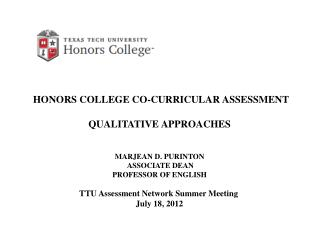 HONORS  COLLEGE CO-CURRICULAR ASSESSMENT QUALITATIVE  APPROACHES