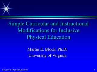 Simple Curricular and Instructional Modifications for Inclusive Physical Education