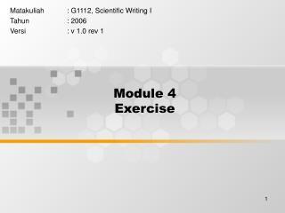 Module 4  Exercise